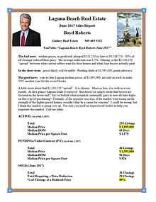 Laguna Beach Real Estate Sales Report June 2017