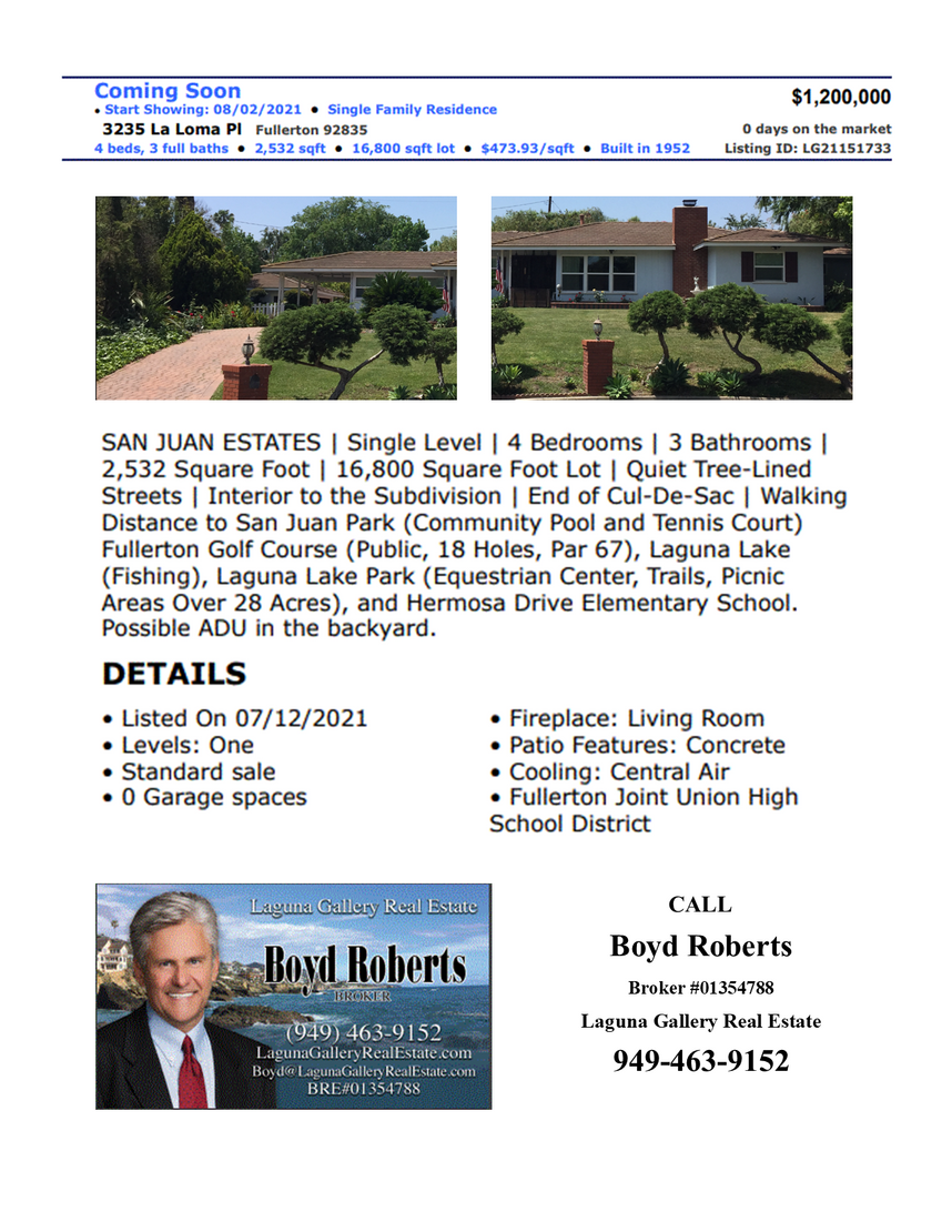 3235 La Loma Place, Fullerton, CA 92835 Offered at $1,200,000
