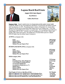 Laguna Beach Real Estate Sales Report August 2016