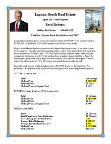 Laguna Beach Real Estate Sales Report April 2017