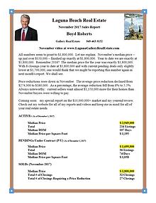 Laguna Beach Real Estate Sales Report November 2017
