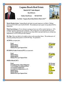 Laguna Beach Real Estate Sales Report March 2017