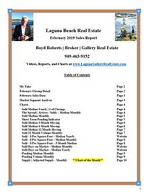 Laguna Beach Real Estate Sales Report - February 2019