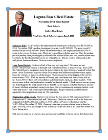 Laguna Beach Real Estate Sales Report November 2016