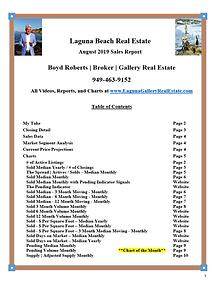 Laguna Beach Real Estate Sales Report - August 2019
