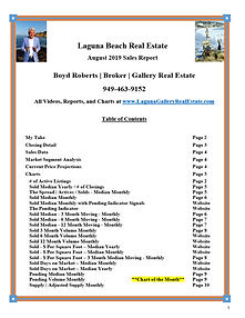 Laguna Beach Real Estate Sales Report - August 2019