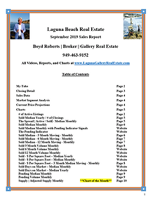 Laguna Beach Real Estate Sales Report - September 2019