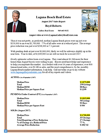Laguna Beach Real Estate Sales Report August 2017