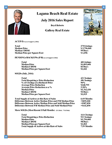 Laguna Beach Real Estate Sales Report July 2016