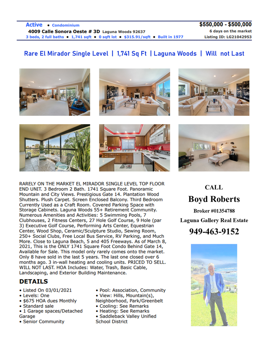 Large Laguna Woods Home | Just on the Market | Will Not Last