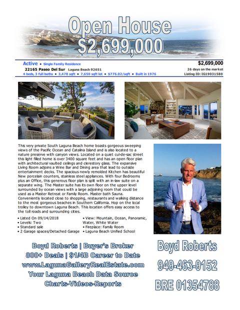 March 10, 2019 | Laguna Beach Real Estate Home For Sale | Open House | 22165 Paseo Del Sur, Laguna B