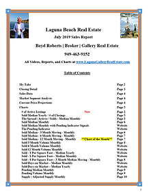 July 2019 Laguna Beach Real Estate Sales Report