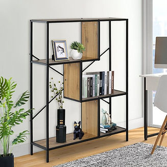 Bookshelf,4-Tier+Wood+Bookcase+With+Meta