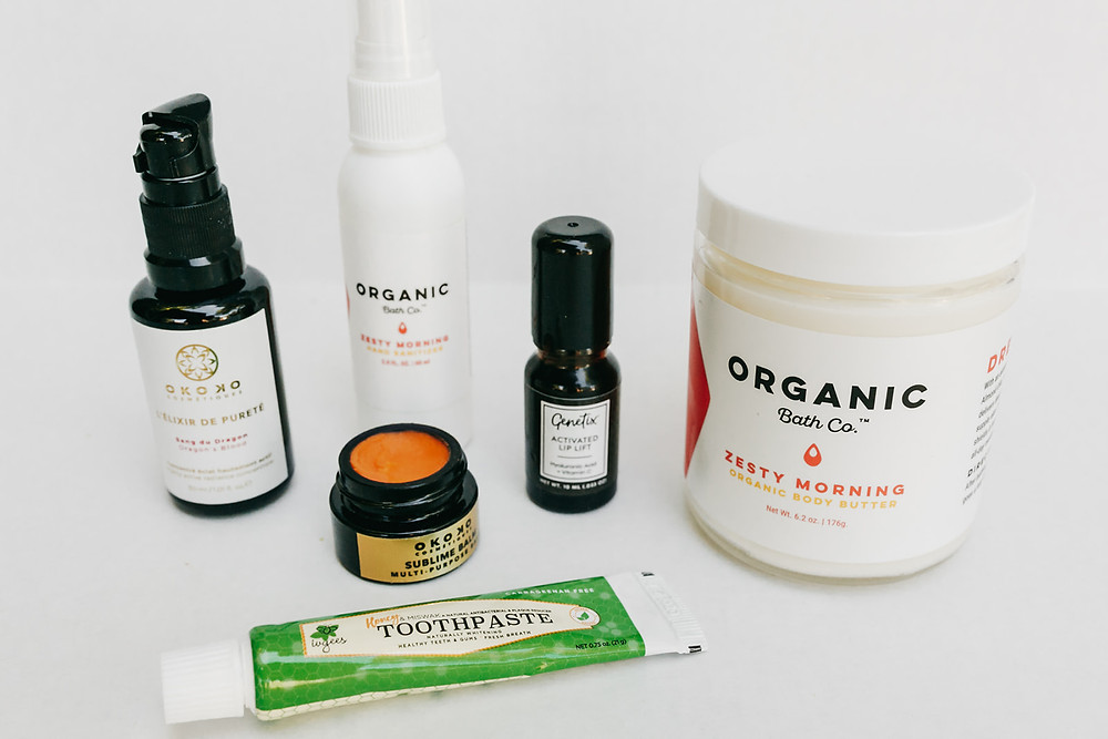 Green Beauty Products on white background