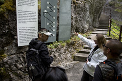 Planning walk up Trümmelbach Falls.