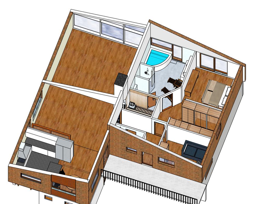 Komplett omdisposition av övrevåningen skapar öppen social del och lyxig privat bostad med direktaces till egte spa och trädgård