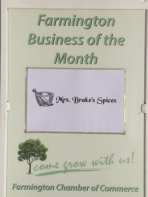 our Farmington Chamber of Commerce October 2018 Business of the Month plaque