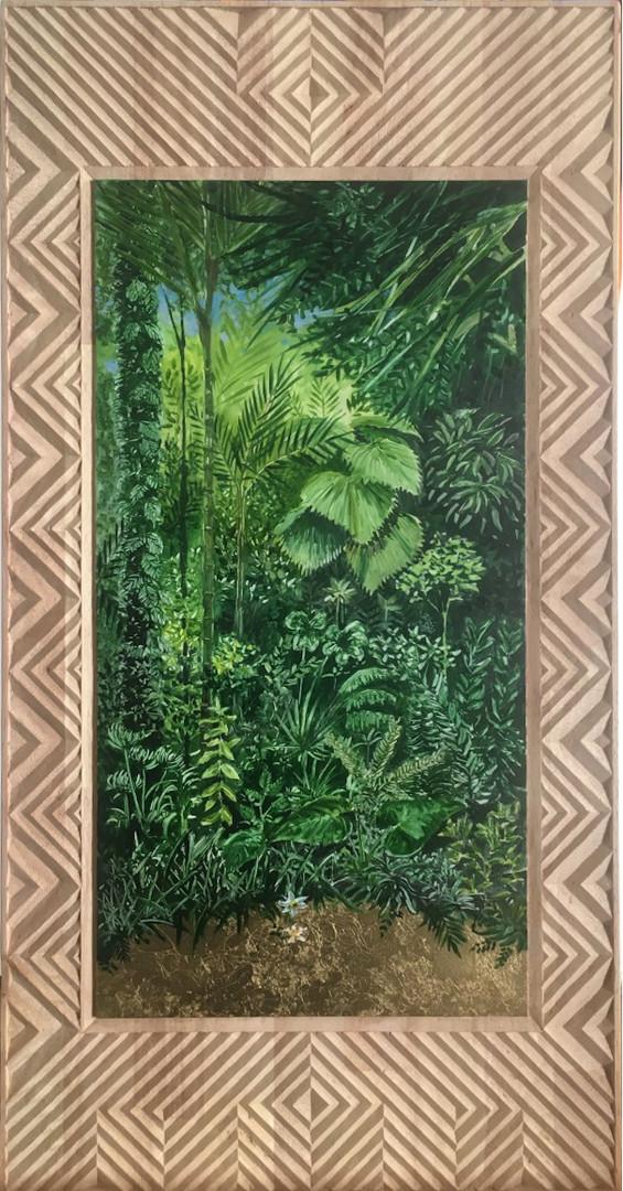 « Narcisse », Peinture à l'huile et dorure à la feuille sur bois sculpté, 2020. 43x83.5cm