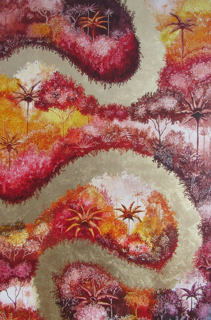 « Fuente de conflicto », Peinture à l'huile et dorure à la feuille sur toile. 60x91.5cm