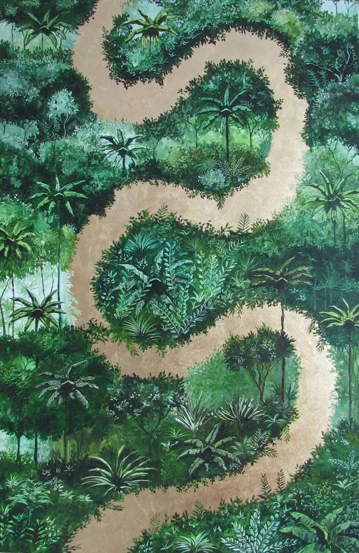 « Fuente de vida », Peinture à l'huile et dorure à la feuille sur toile. 60x91.5cm