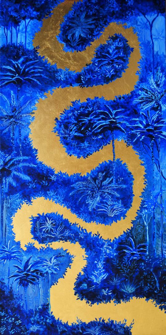 « El Río » Peinture à l'huile sur toile dorée à la feuille. 100x50cm