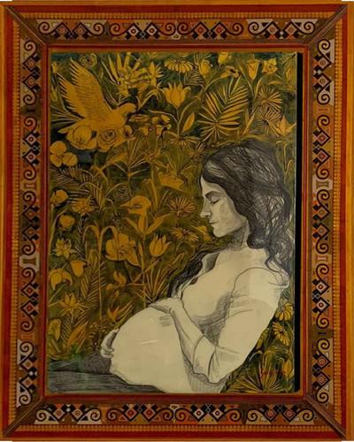 « Retrato de Anita » Encre acrylique et mine de plomb sur papier marouflé et résiné. 130x100cm 2015