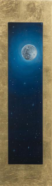 « Chía », Peinture à l'huile et encre sur bois doré à la feuille. 110,7x31,5cm