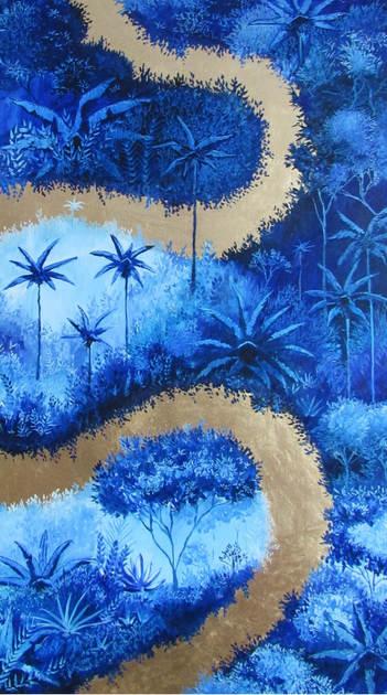 « Fuente espiritual », Peinture à l'huile et dorure à la feuille sur toile. 60x91.5cm