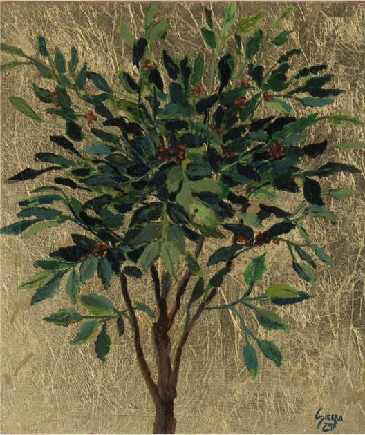 « Coffea arabica L. -un simbolo colombiano- » Peinture à l'huile et encre sur bois doré à la feuille. 26,5x22cm
