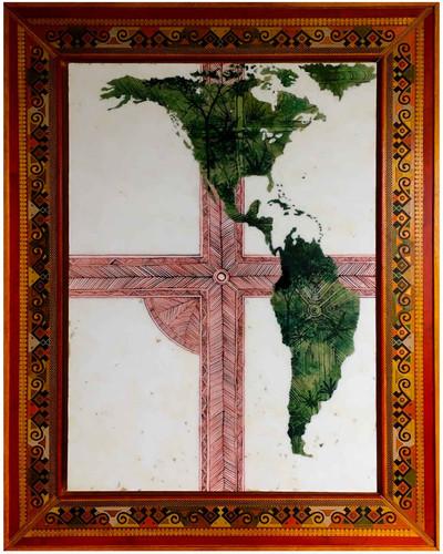 « Muysua » Encre et aquarelle sur papier marouflé et résiné avec un cadre artisanal en barnis de pasto. 100x130cm 2019