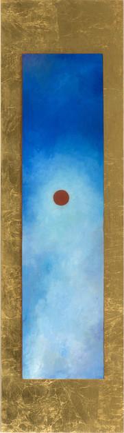« Xué », Peinture à l'huile et encre sur bois doré à la feuille. 110,7x31,5cm