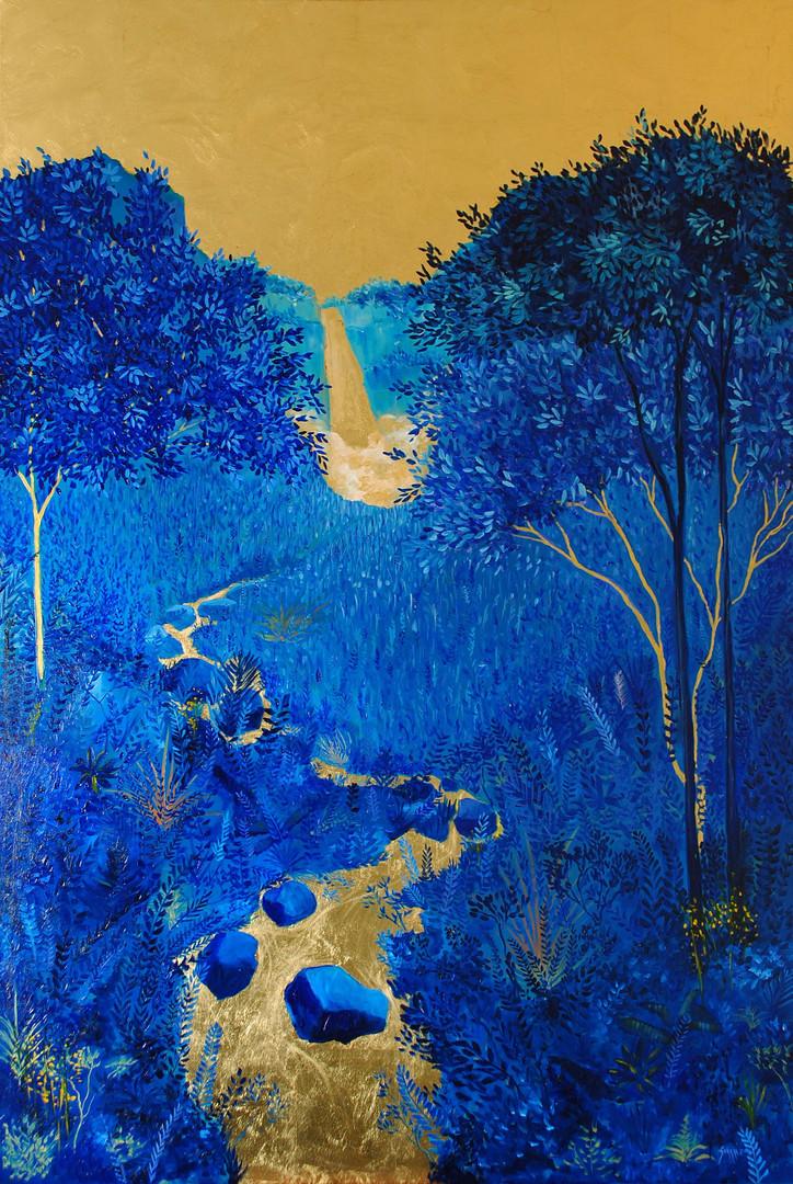 « Bochica », Peinture à l'huile et encre sur toile dorée à la feuille. 150x100cm