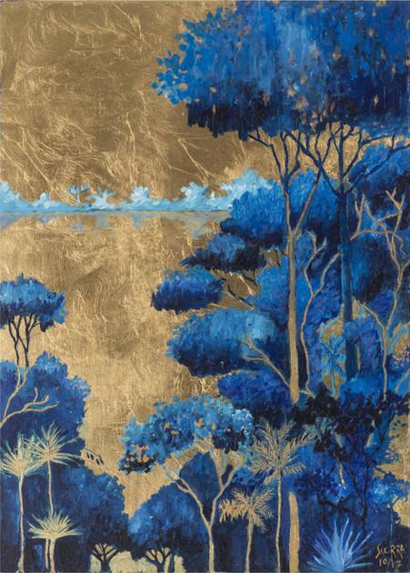 « Bachué », Peinture à l'huile et encre sur bois doré à la feuille. 60x42cm
