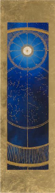 « Chiminigagua » Peinture à l'huile et encre sur bois doré à la feuille. 110,4x31,5 cm 2018