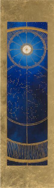 « Chiminigagua » Peinture à l'huile et encre sur bois doré à la feuille. 110,4x31,5cm