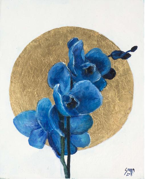 « Orquidia Azul », Peinture à l'huile et encre sur bois doré à la feuille. 27.5x22cm