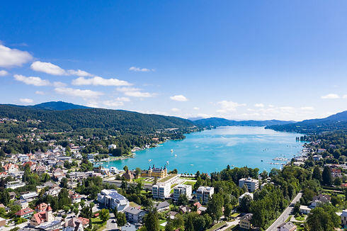 Velden village view at the beautiful lak