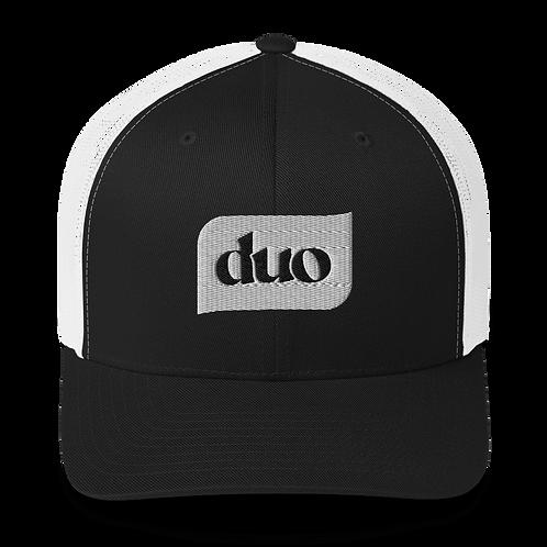 white duo bubble trucker hat