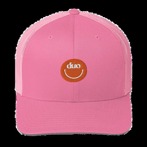 duo smiley trucker hat: orange