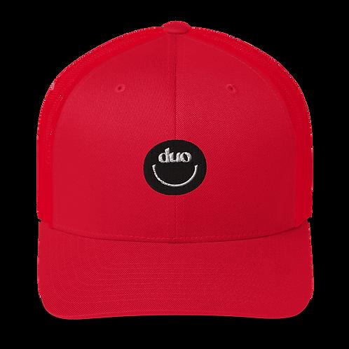 duo smiley trucker hat: black