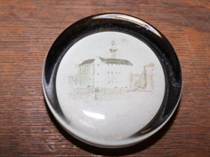 Circular Glass Paperweight with Building Painting Detail