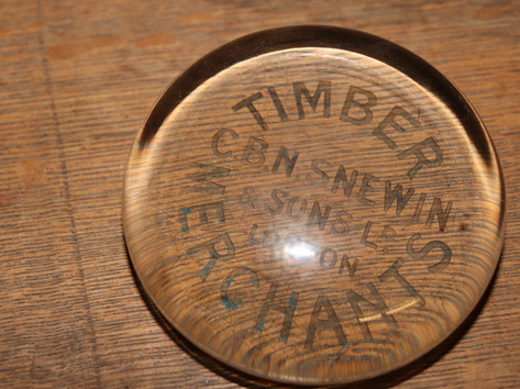 Timber Merchants Glass Circular Paperweight