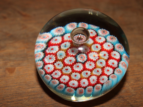 Blue, Red & Orange Floral Glass Paperweight