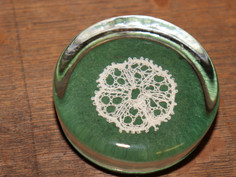 Circular Glass Paperweight with Doily Design