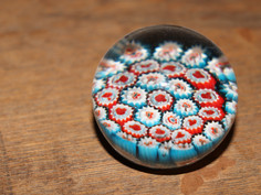 Red & Blue Glass Floral Spherical Paperweight