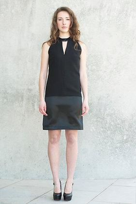 Black V collar dress