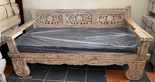 Old Teak Flat Arm O/S Daybed