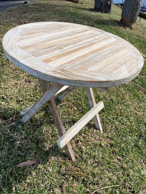 Fold up teak side table round whitewash