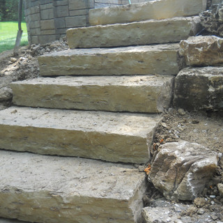 Rock faced stone steps