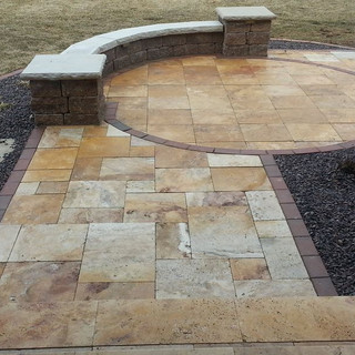 Autumn gold travertine courtyard and ent